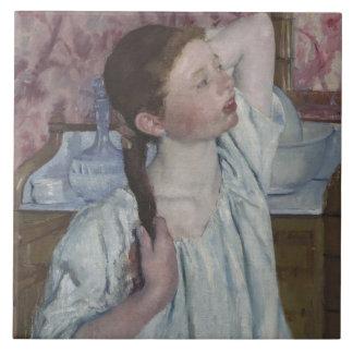 Girl Arranging Her Hair, 1886 (oil on canvas) Ceramic Tile