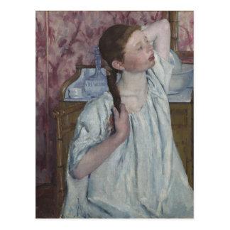 Girl Arranging Her Hair, 1886 (oil on canvas) Postcard