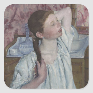 Girl Arranging Her Hair, 1886 (oil on canvas) Square Sticker