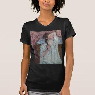 Girl Arranging Her Hair by Mary Cassatt T Shirt