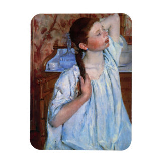 girl arranging her hair rectangular photo magnet