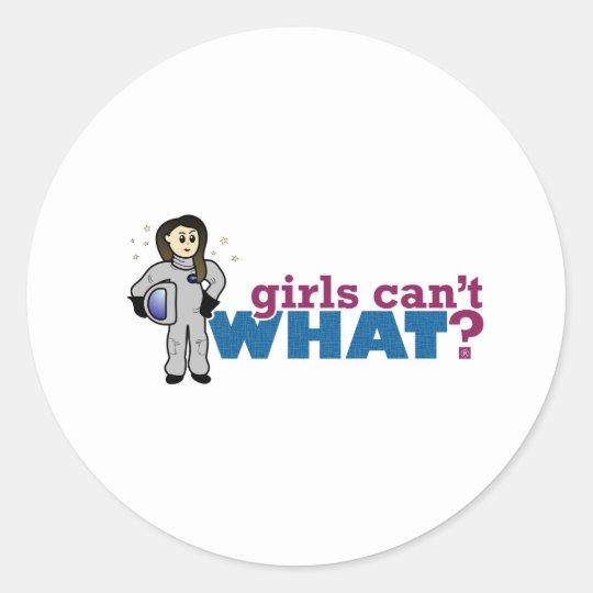 Girl Astronaut Classic Round Sticker