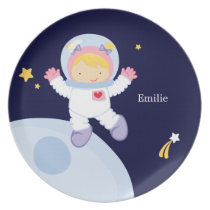Girl Astronaut Kid's Personalized Melamine Plate
