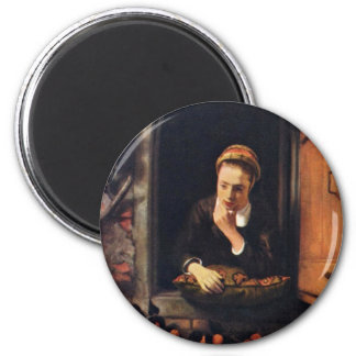 Girl At A Window Known As 'The Daydreamer'., Fridge Magnet