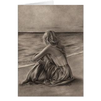 Girl at beach Greeting Card