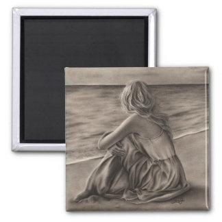 Girl at beach Magnet