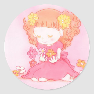 girl at field of flowers classic round sticker