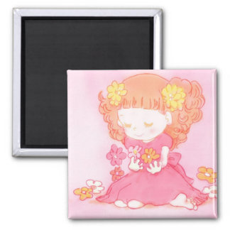 girl at field of flowers magnet