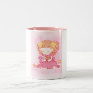 girl at field of flowers Two-Tone coffee mug