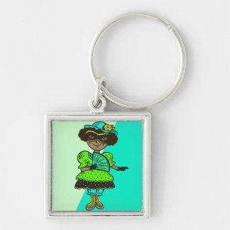 Girl At Masquerade Ball Keychain