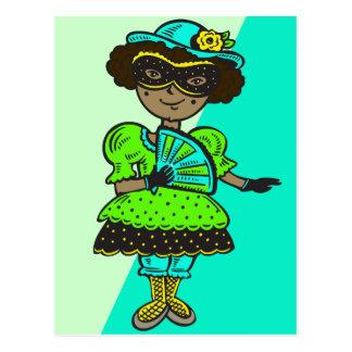 Girl At Masquerade Ball Postcard