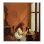 Girl at Sewing Machine, Edward Hopper Poster