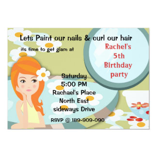 girl at spa birthday party invitation