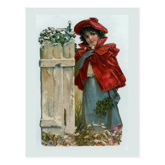 """""""Girl at the Gate"""" Vintage Christmas Postcard"""