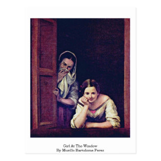 Girl At The Window By Murillo Bartolome Perez Postcards
