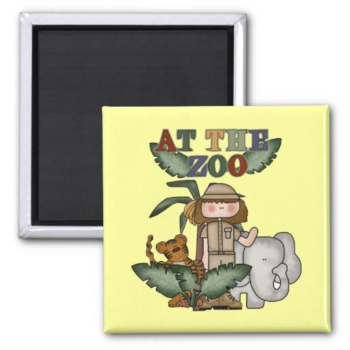 Girl At the Zoo Tshirts and Gifts 2 Inch Square Magnet