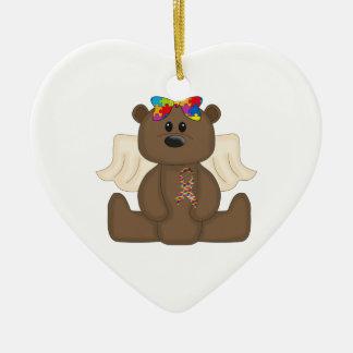 Girl Autism Awareness Bear Ceramic Ornament