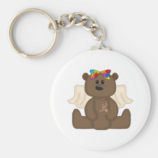 Girl Autism Awareness Bear Keychain