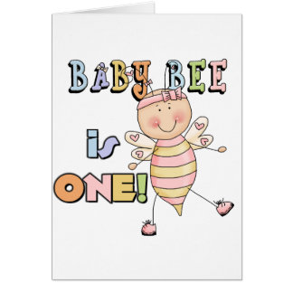 Girl Baby Bee 1st Birthday Tshirts and Gifts Card