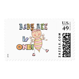 Girl Baby Bee 1st Birthday Tshirts and Gifts Postage Stamp