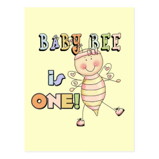 Girl Baby Bee 1st Birthday Tshirts and Gifts Postcard