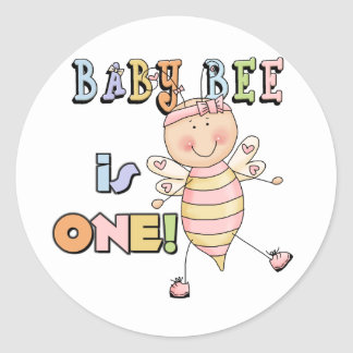 Girl Baby Bee 1st Birthday Tshirts and Gifts Round Sticker