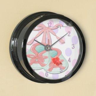 Girl Baby Booties Aqua Clock