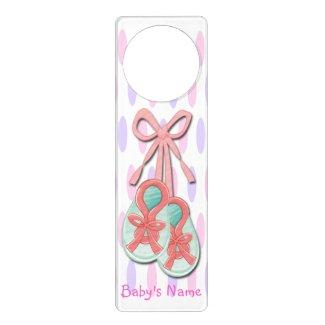 Girl Baby Booties Door Hanger