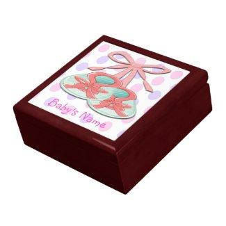 Girl Baby Booties Gift Box/Trinket Box