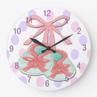 Girl Baby Booties Round Wall Clock