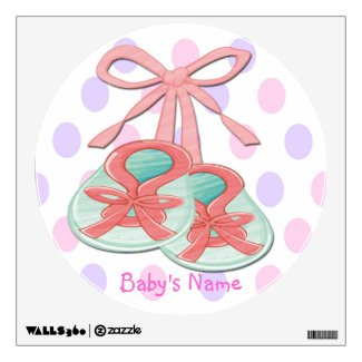 Girl Baby Booties Round Wall Decal