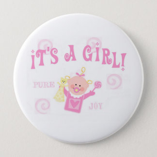 Girl Baby Button Announcement