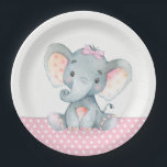 """Girl Baby Elephant Baby Shower Paper Plates<br><div class=""""desc"""">Cute baby elephant baby shower paper plates with adorable baby girl elephant wearing a cute pink bow on a pink and gray polka dot background. You can add text to personalize these sweet girl elephant baby shower paper plates.</div>"""
