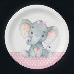 "Girl Baby Elephant Baby Shower Paper Plates<br><div class=""desc"">Cute baby elephant baby shower paper plates with adorable baby girl elephant wearing a cute pink bow on a pink and gray polka dot background. You can add text to personalize these sweet girl elephant baby shower paper plates.</div>"