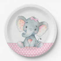 Girl Baby Elephant Baby Shower Paper Plates
