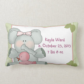 Girl Baby Elephant on Green with Rubber Duck Pillows