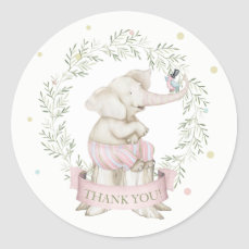 Girl Baby Elephant Pink Green Beige Classic Round Sticker
