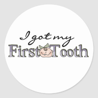Girl Baby First Tooth Classic Round Sticker