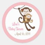 Girl Baby Monkey Jungle Envelope Seals Stickers