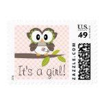 Girl Baby Owl Postage Stamp
