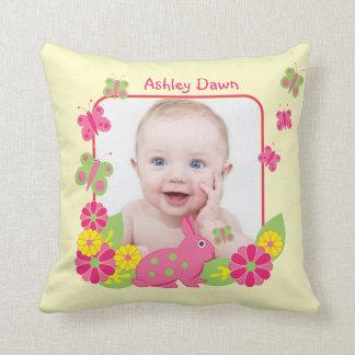Girl Baby Photo Template Bunny Butterflies Flowers Throw Pillow