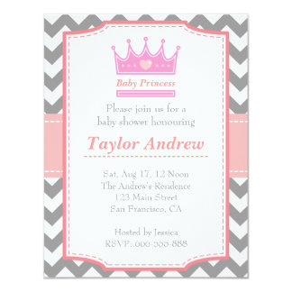 Girl Baby Shower - Baby Princess With Pink Crown 4.25x5.5 Paper Invitation Card