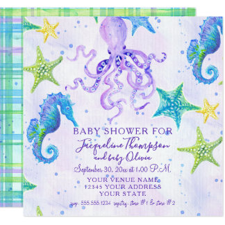 Girl Baby Shower Beach Starfish Octopus Seahorse Card