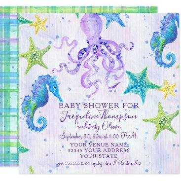 Toddler & Baby themed Girl Baby Shower Beach Starfish Octopus Seahorse Card