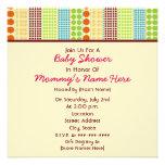 Girl Baby Shower: Boho Dots Stuffed Bear Personalized Invitation