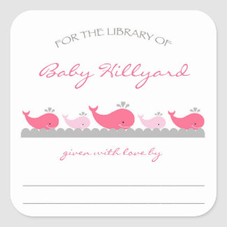 Girl Baby Shower bookplates / pink gray whales