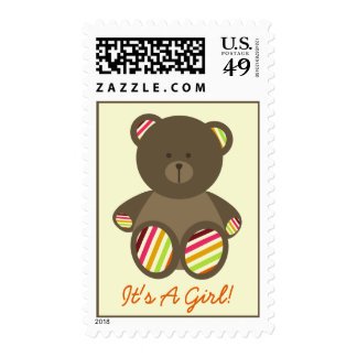 Girl Baby Shower - Brown Stuffed Bear Stripes Postage