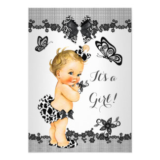 Girl Baby Shower Butterfly Black White Blonde Card