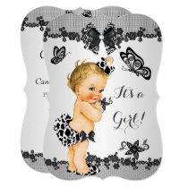 Girl Baby Shower Butterfly Black White Blonde Invitation