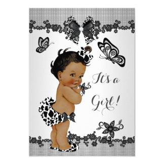 Girl Baby Shower Butterfly Black White Ethnic Card